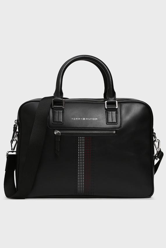 Мужская черная кожаная сумка для ноутбука BUSINESS LEATHER SLIM