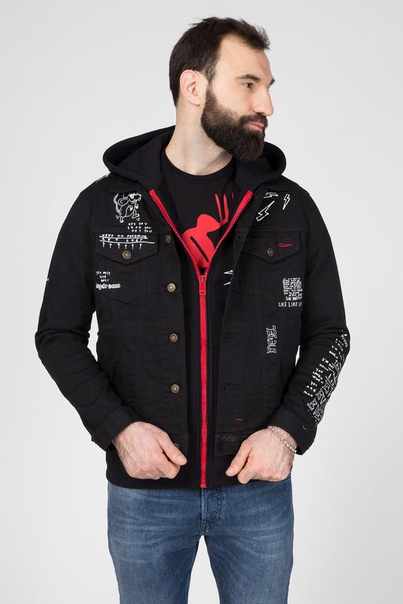Мужская черная джинсовая куртка CL-NHILL-T