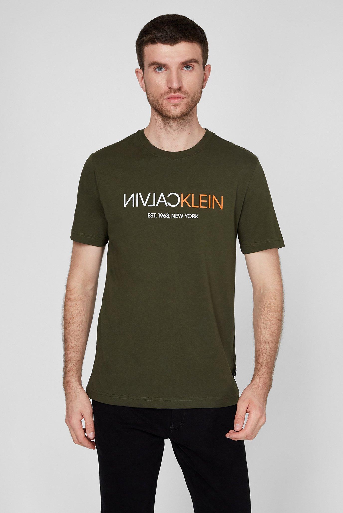 Мужская зеленая футболка TEXT REVERSE FRONT LOGO 1