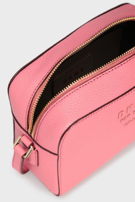 Женская розовая кожаная сумка через плечо NOHO