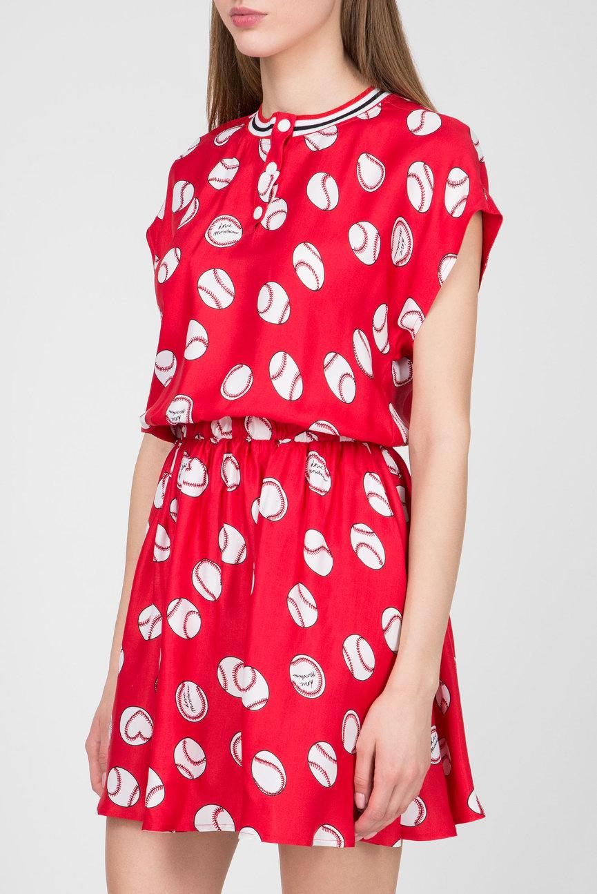 Женское красное платье с принтом