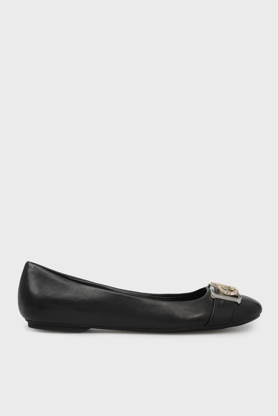 Женские черные кожаные балетки OMIE
