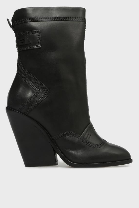 Женские черные кожаные ботильоны FLAMINGO