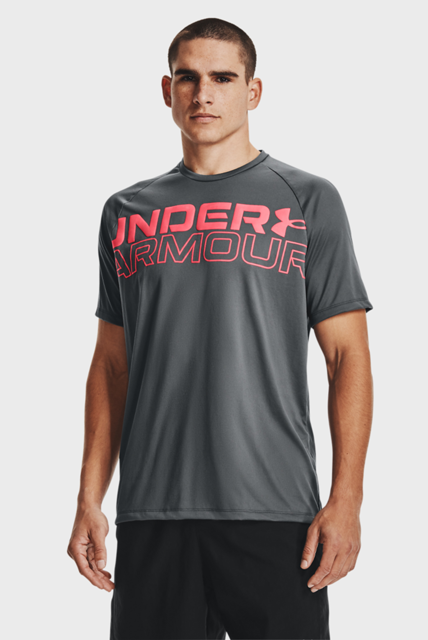 Мужская серая футболка UA TECH 2.0 WORDMARK SS 1