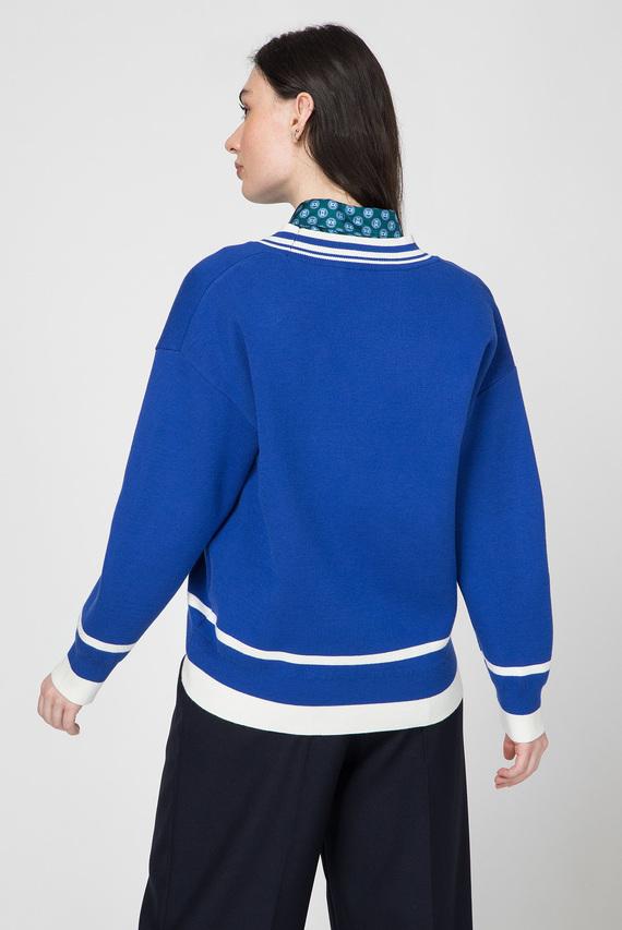 Женский синий пуловер