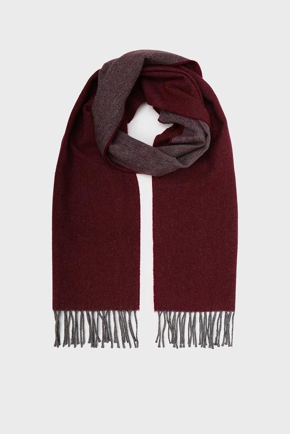 Мужской бордовый шерстяной шарф TWO FACED TWILL