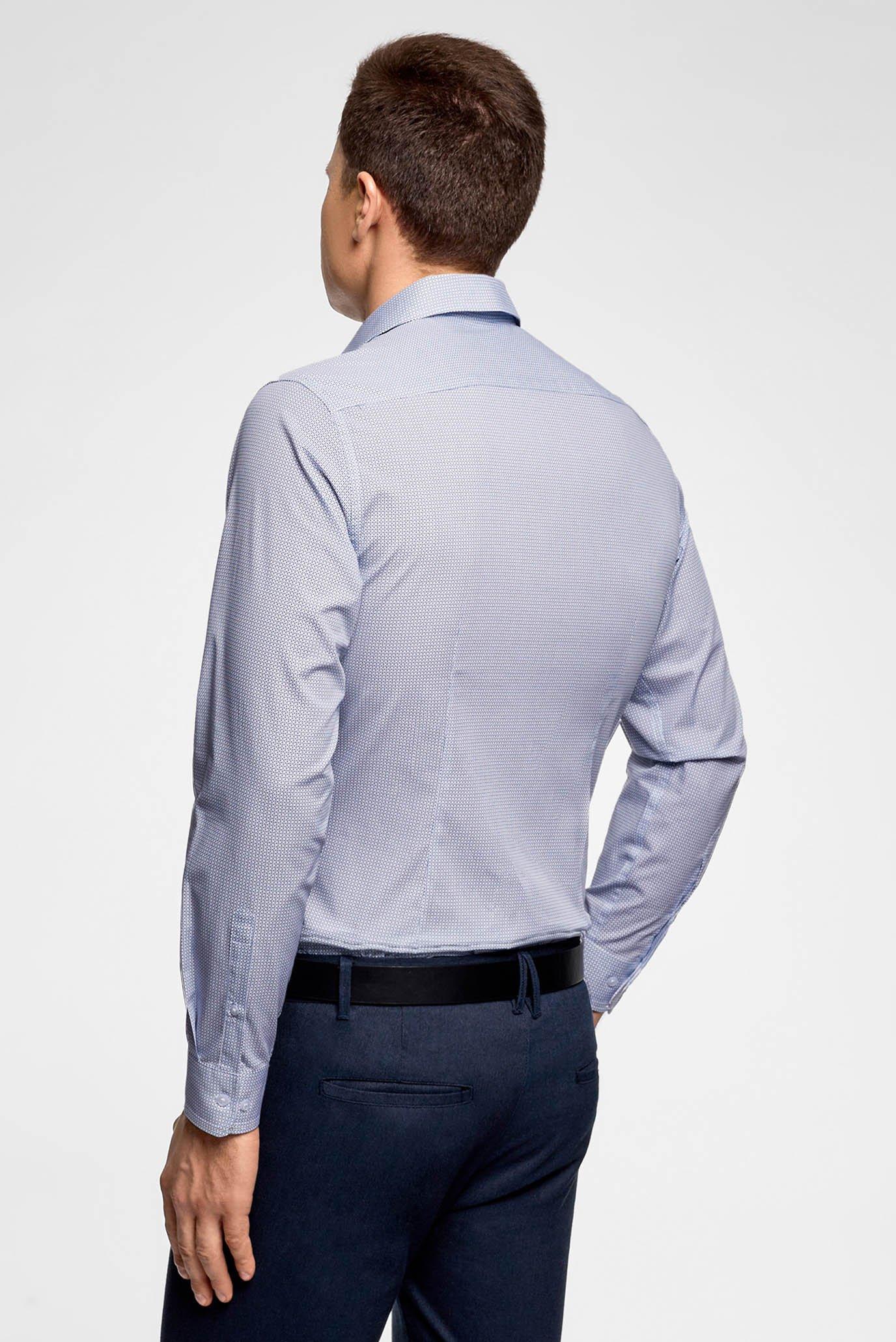 Мужская голубая рубашка с узором Oodji