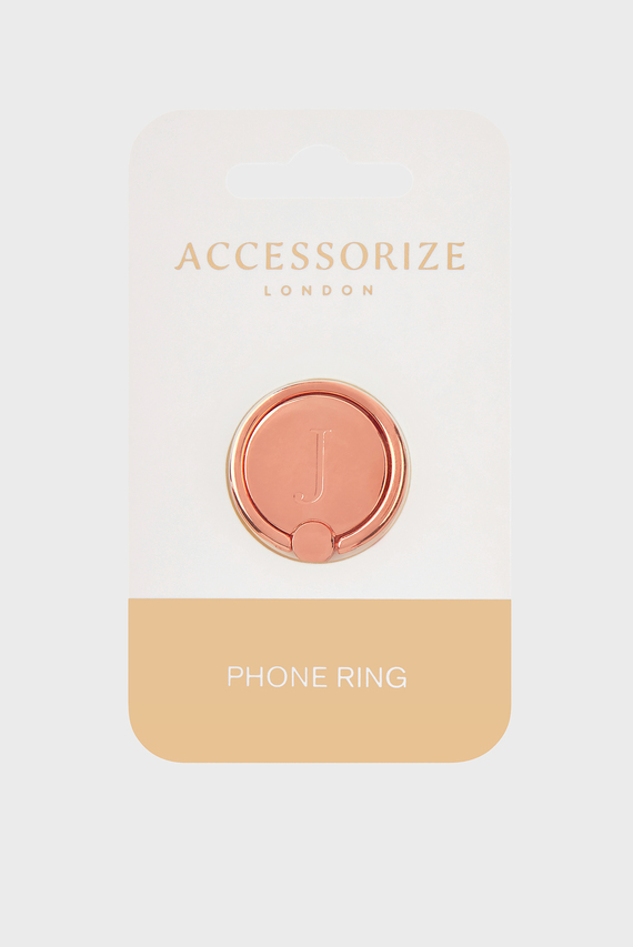 Золотистое кольцо для телефона Initial Phone Ring J
