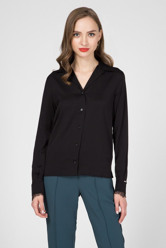 Женская черная блуза LS LACE TRIM