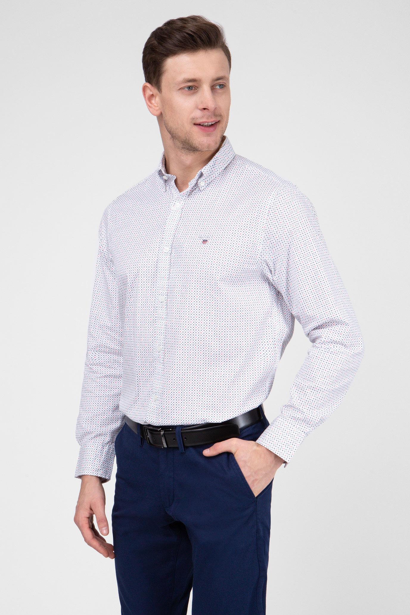 853f52e1080 Купить Мужская белая рубашка с принтом Gant Gant 3006120 – Киев ...