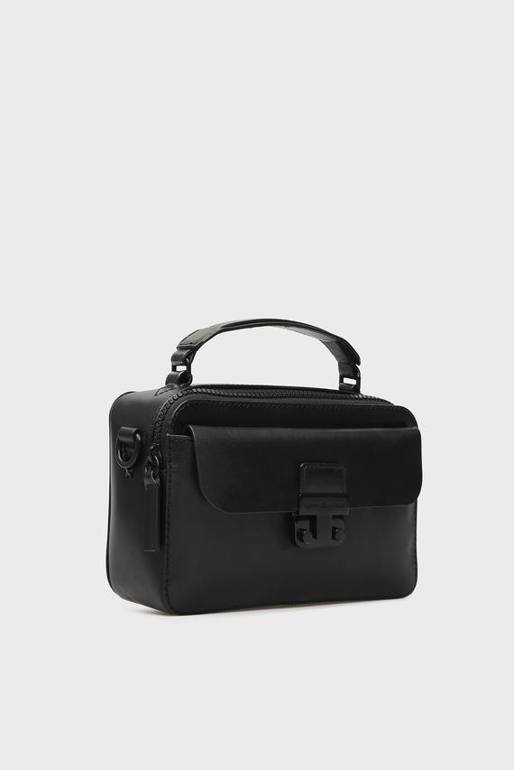 Женская черная кожаная  сумка через плечо FASHION HARDWARE CROSSOVER