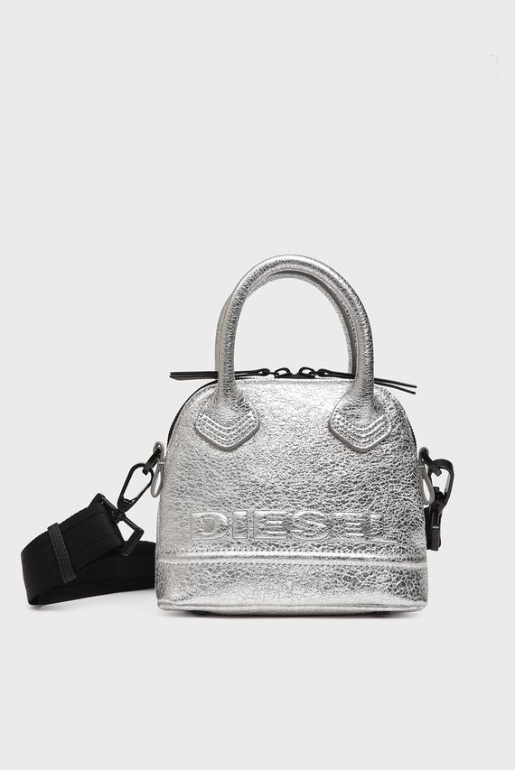 Женская серебристая кожаная сумка через плечо KUB8 / PYANIGA