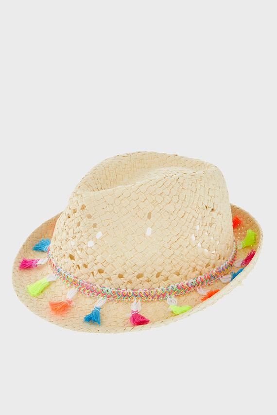Детская бежевая шляпа TASSEL TRILBY HAT