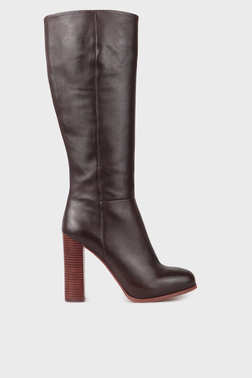 Женские коричневые кожаные сапоги