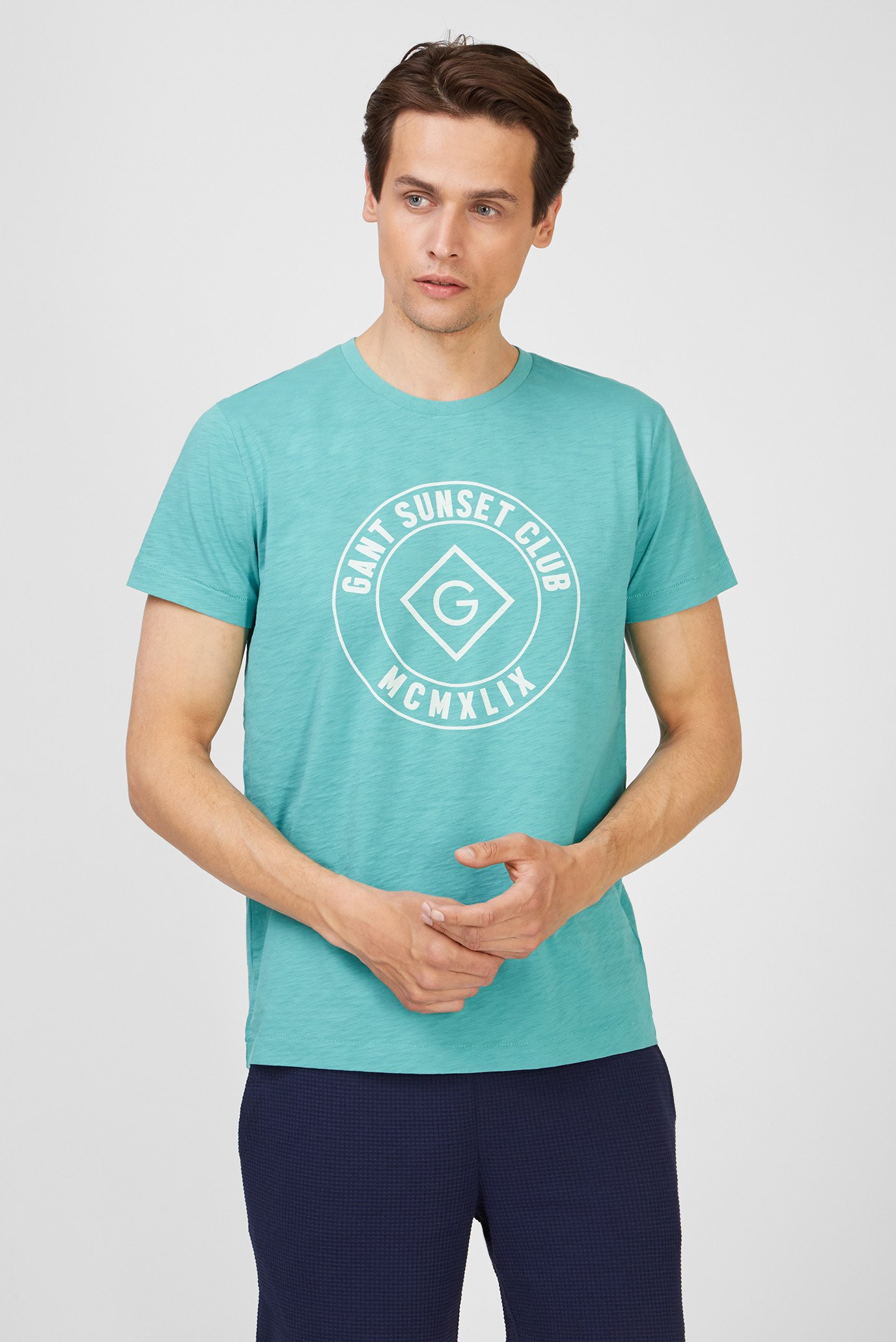 Мужская бирюзовая футболка SUNSET CLUB 1