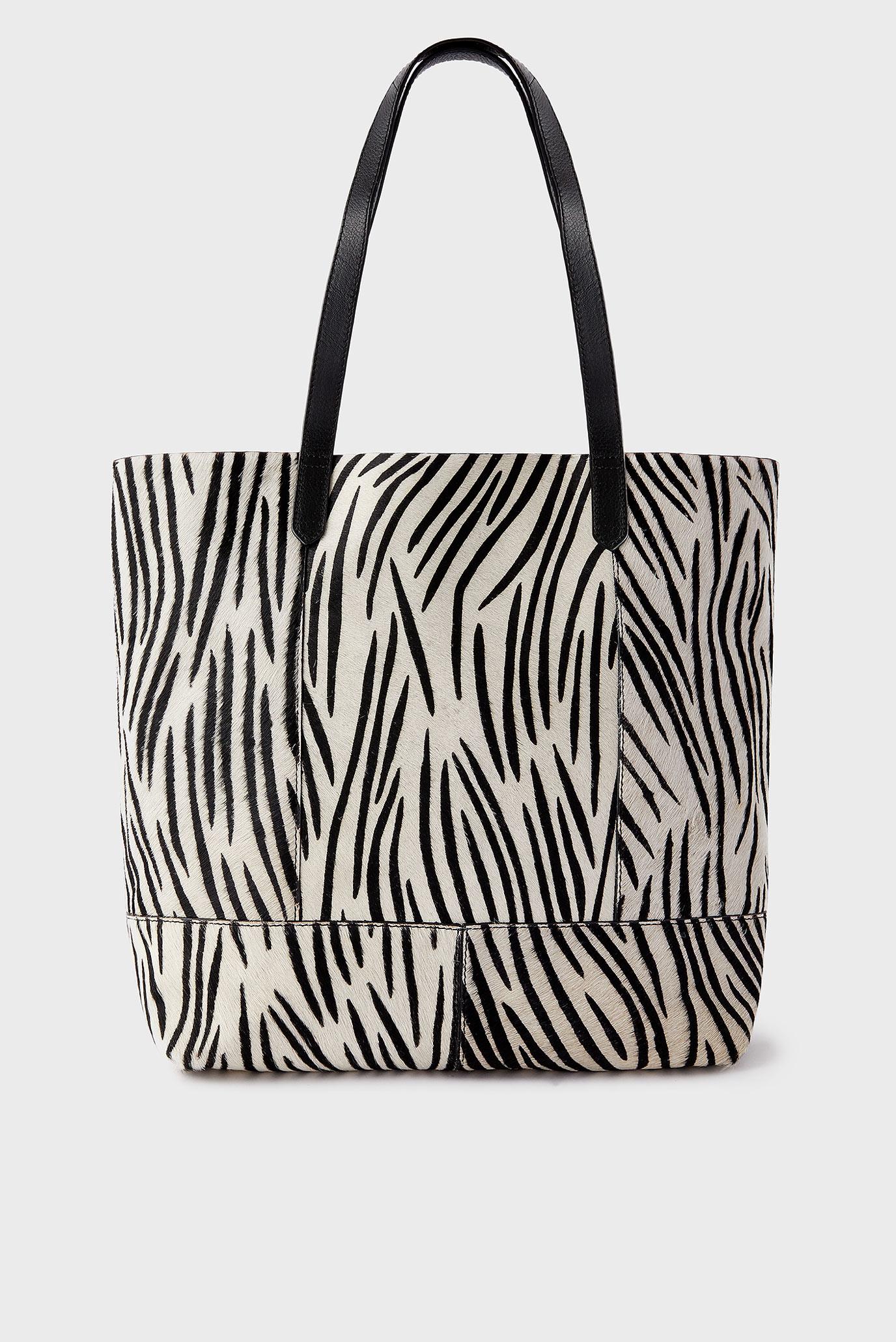 Женская кожаная сумка с принтом ZEBRA SHOPPER 1