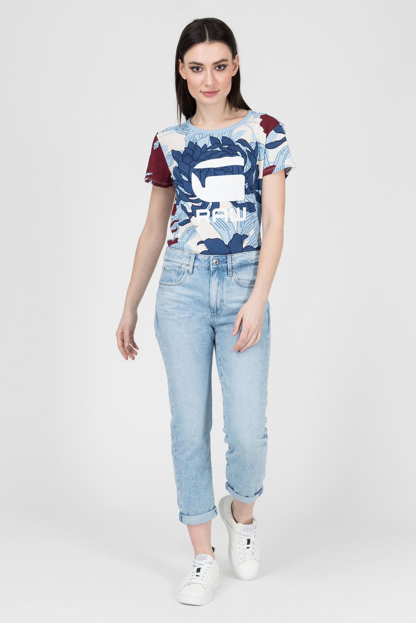 Женская голубая футболка с принтом G-Star RAW