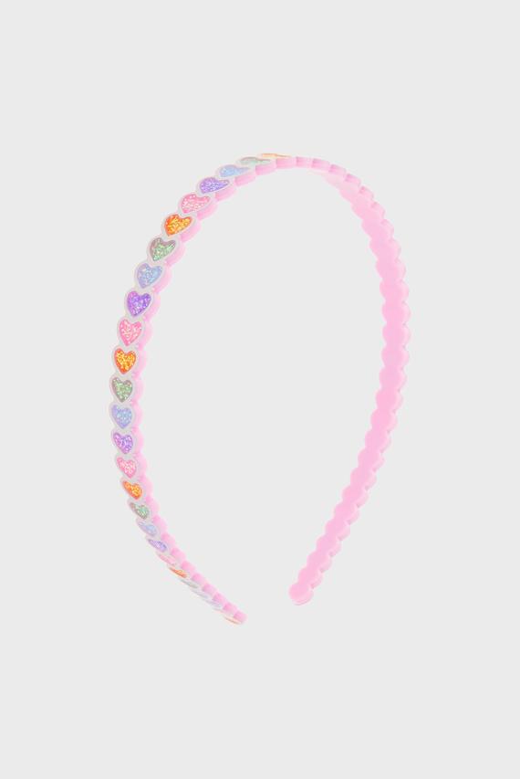 Детский розовый обруч RAINBOW HEART ALICE
