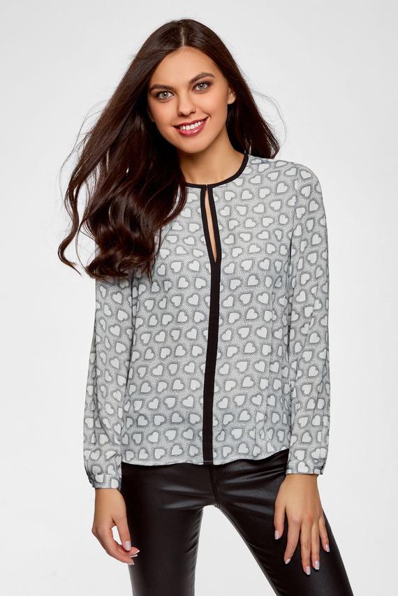 Женская серая блуза с принтом