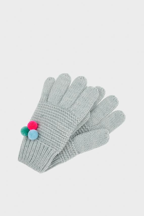 Детские серые перчатки MULTI MINI POM POM G