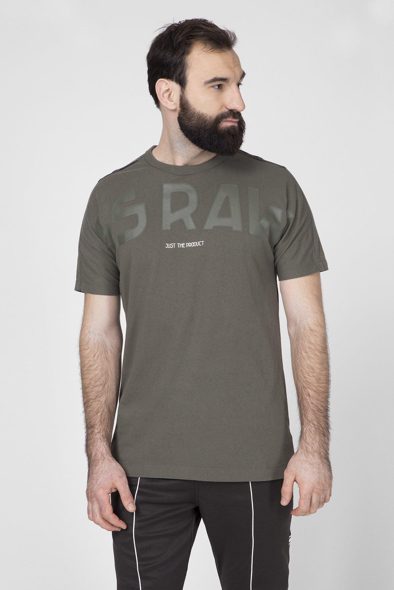 Мужская зеленая футболка Gsraw Back G-Star RAW