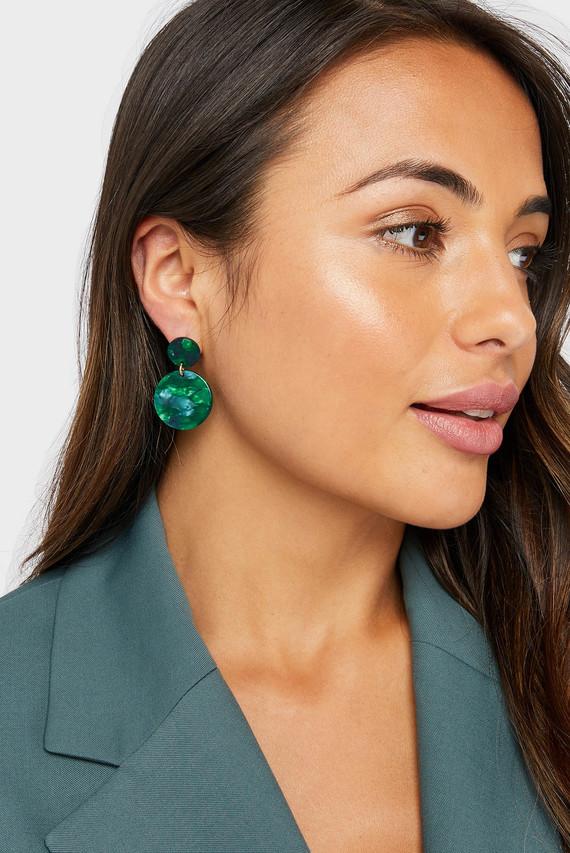 Женские зеленые серьги NEW MINI RESIN SHORT