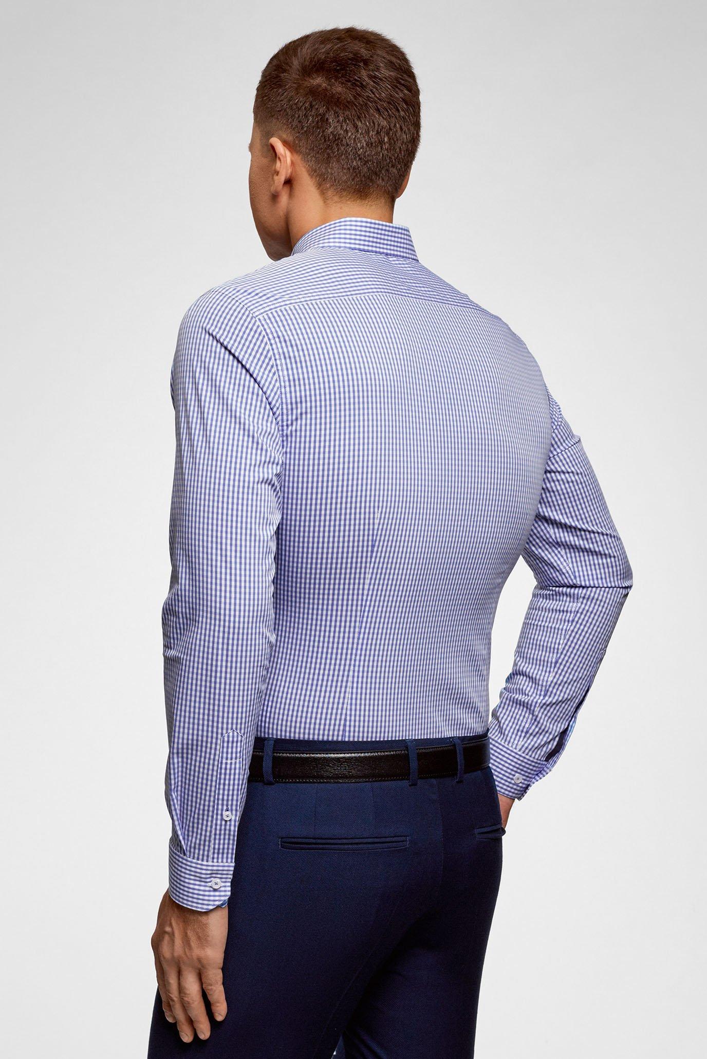 Мужская голубая рубашка в клетку Oodji