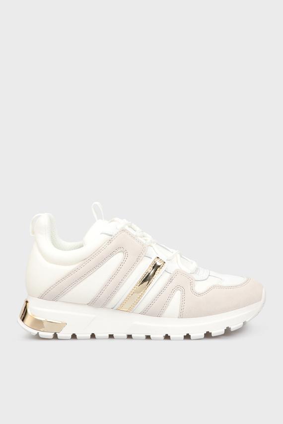 Женские белые замшевые кроссовки MAY
