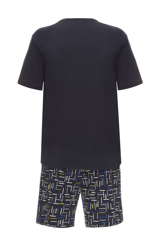 Мужская темно-синяя пижама (футболка, шорты)