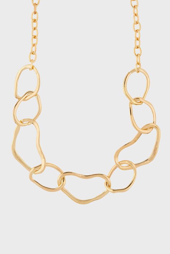 Женское золотистое колье ORGANIC CHUNKY LINKS
