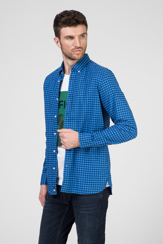 Мужская синяя рубашка в клетку SLIM GLOBAL STRIPE GINGHAM