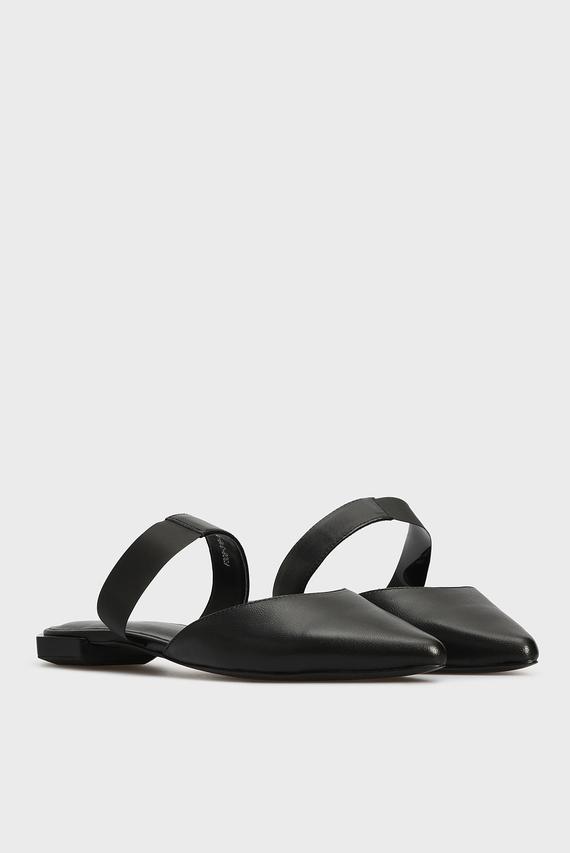 Женские черные кожаные мюли