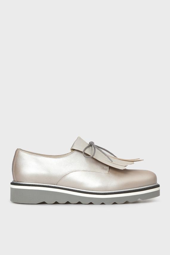 Женские золотистые кожаные туфли