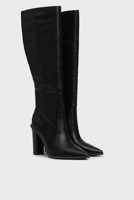 Женские черные кожаные сапоги Nortins