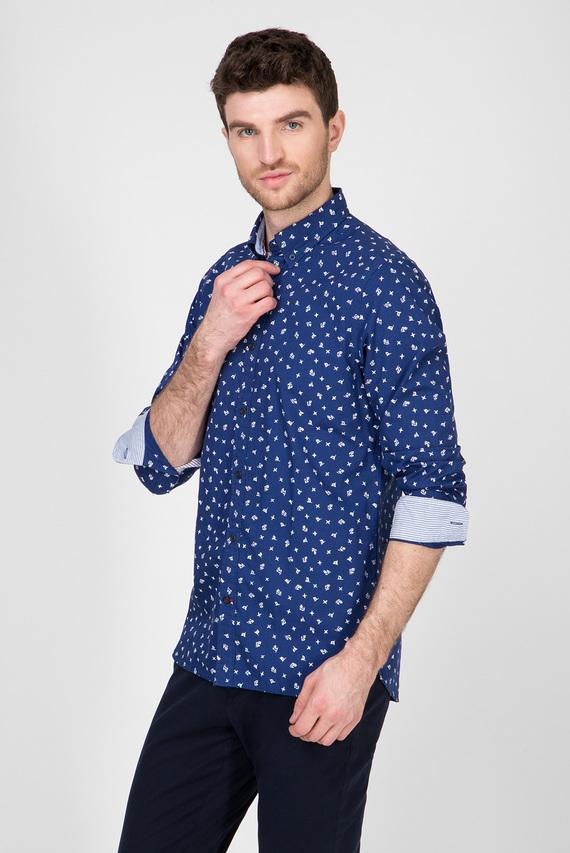 Мужская синяя рубашка с принтом SLIM IRREGULAR FLAG PRINT