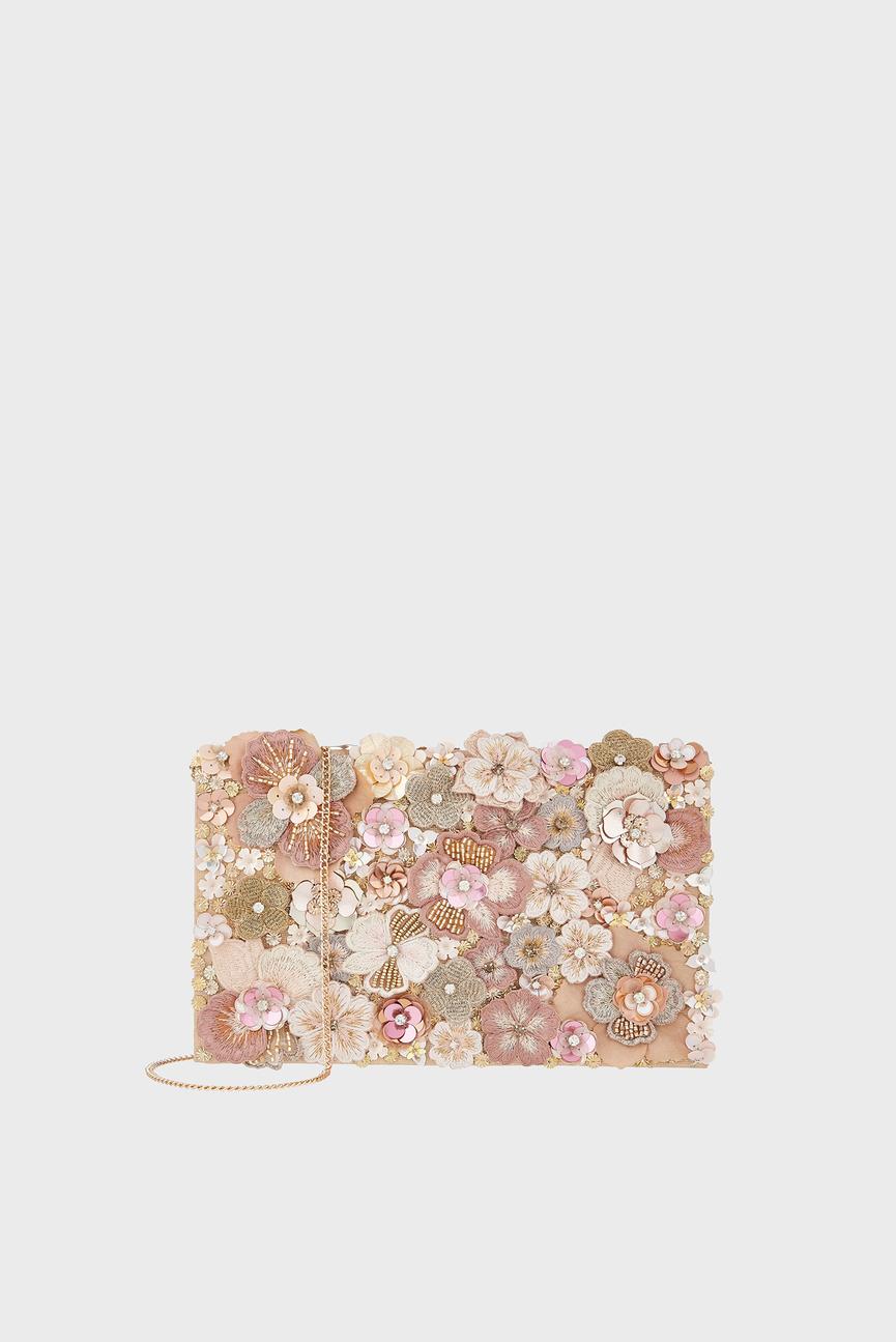 Женский розовый клатч CORALIE FLORAL FOLDO