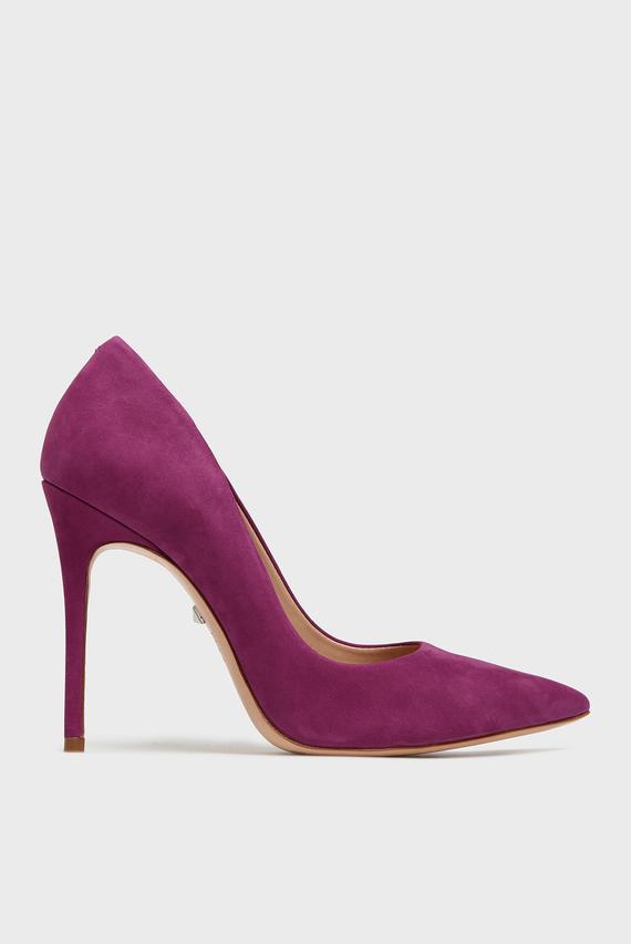 Женские фиолетовые замшевые лодочки