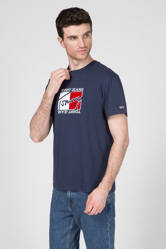 Мужская синяя футболка TJM FLAG SCRIPT