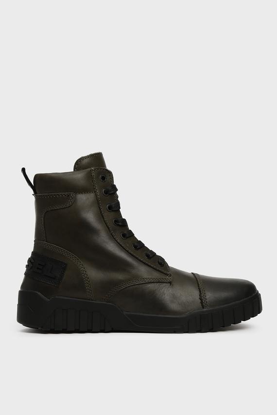Мужские темно-зеленые кожаные ботинки LE RUA / H-RUA AM