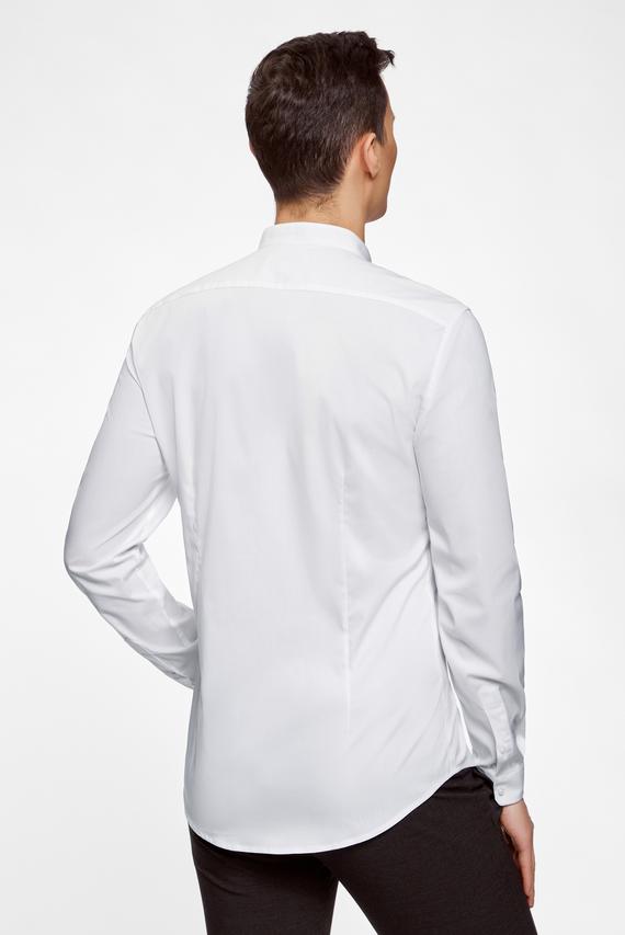 Мужская белая приталенная рубашка с воротником-стойкой