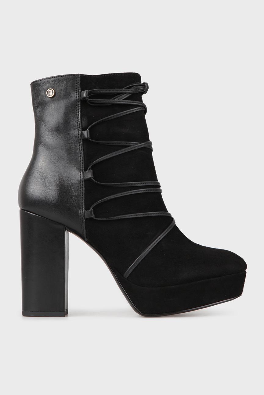 Женские черные замшевые ботинки