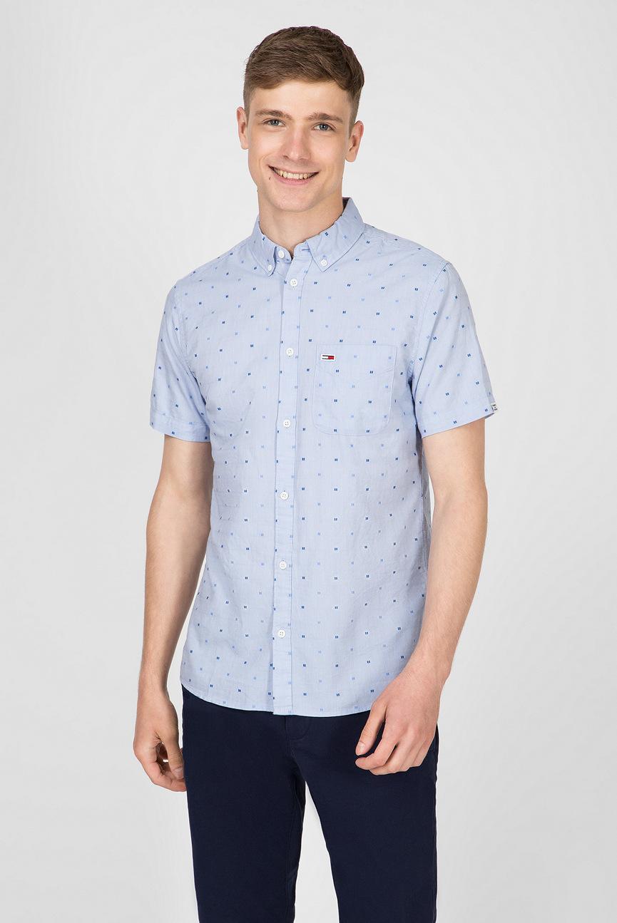 Мужская голубая рубашка TJM DOBBY