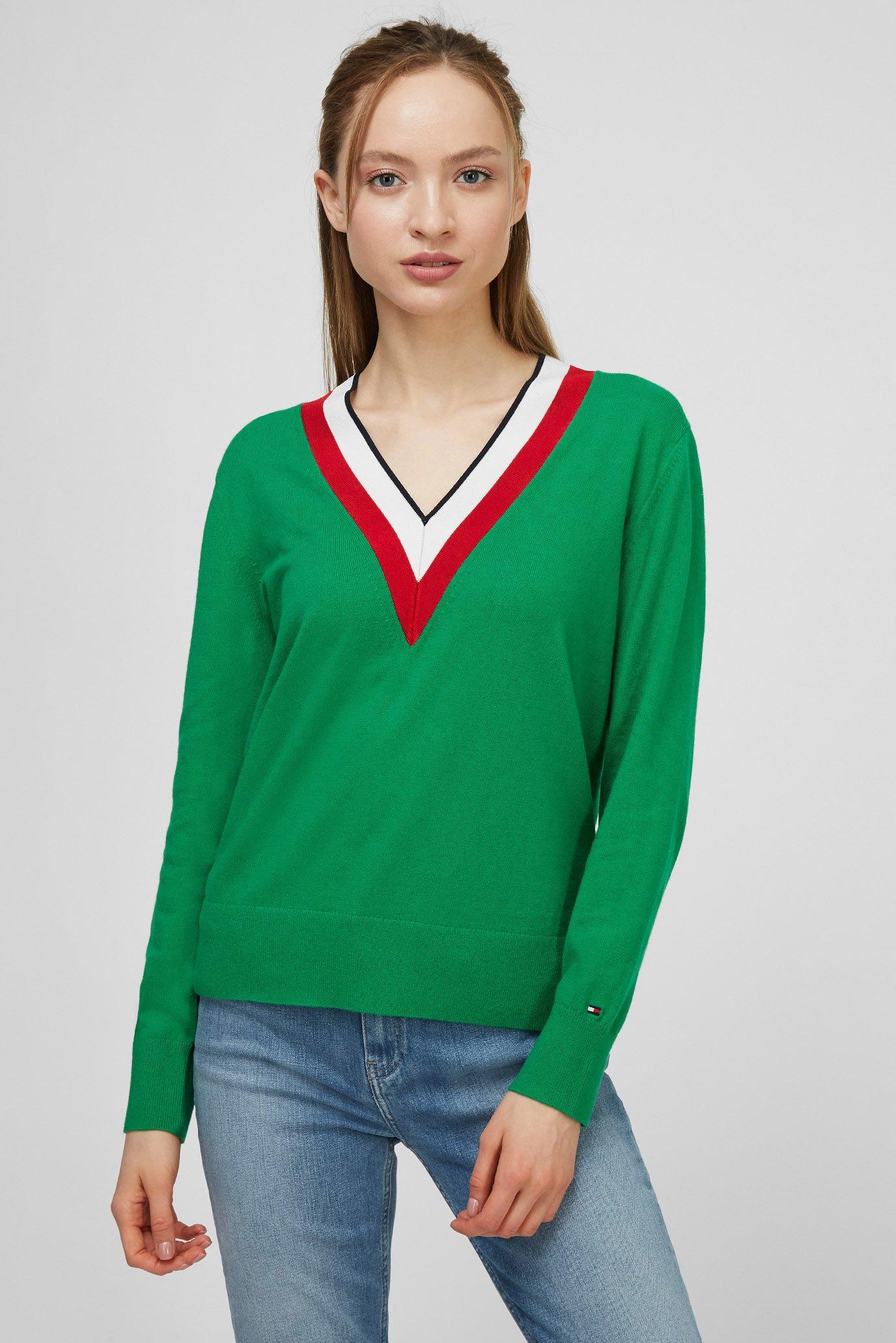 Женский зеленый пуловер GLOBAL STRIPE V-NK SWT LS 1