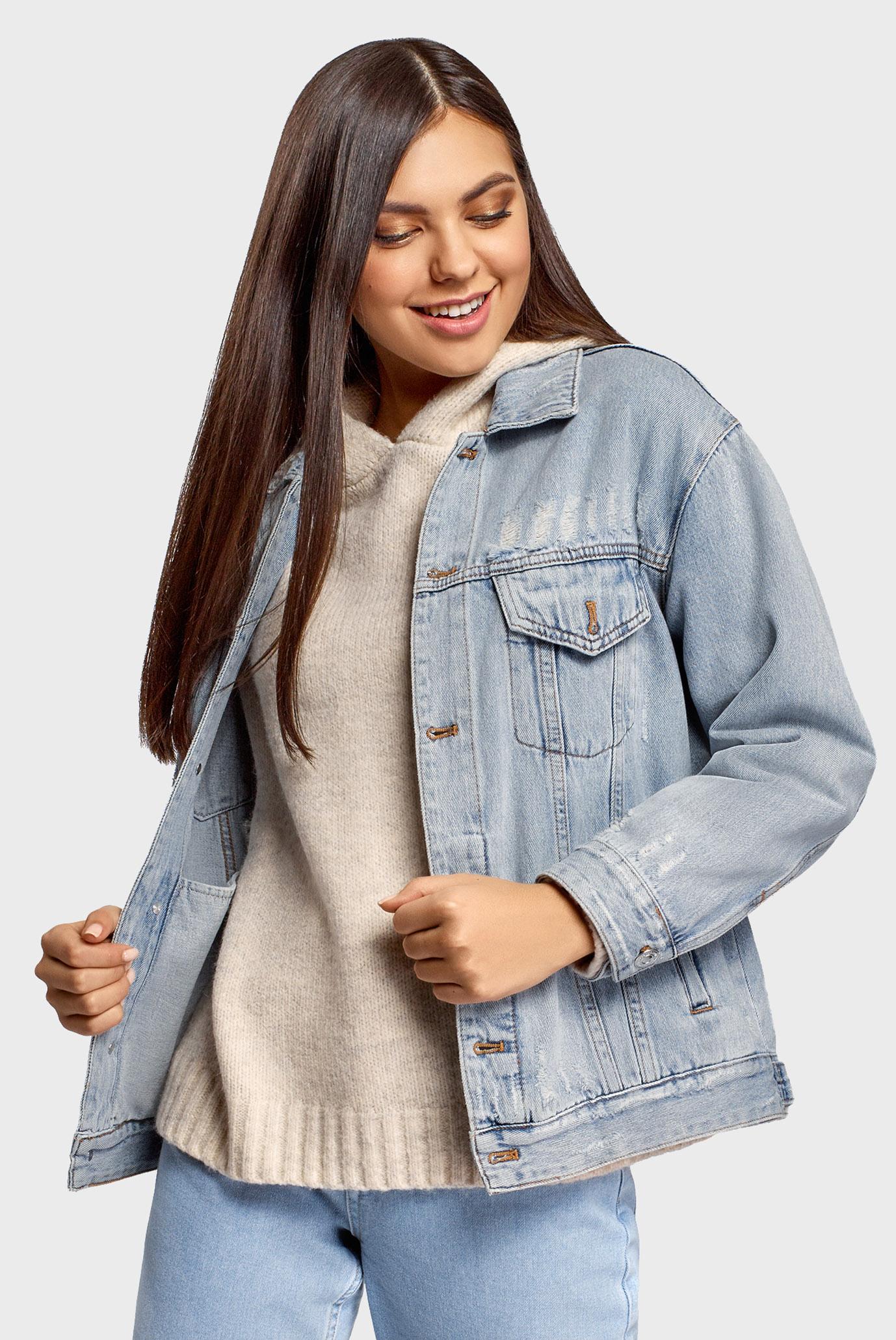 Женская голубая джинсовая куртка Oodji