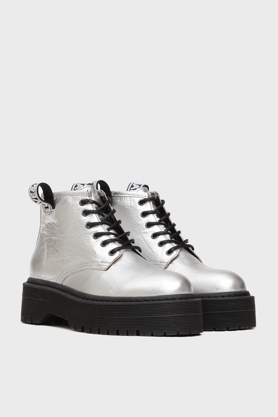 Женские серебристые кожаные ботинки Patti Smit