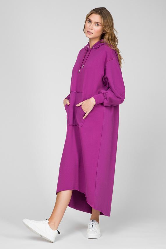 Женское фиолетовое платье-худи D-ILSE-TWIST-COPY