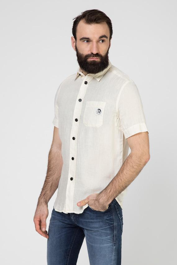 Мужская бежевая льняная рубашка S-KIRUMA