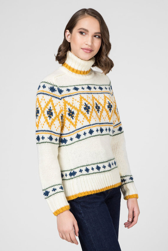 Женский белый свитер с узором FRENCHSISTER