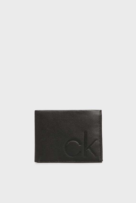 Мужской черный кожаный кошелек CK UP 5CC COIN