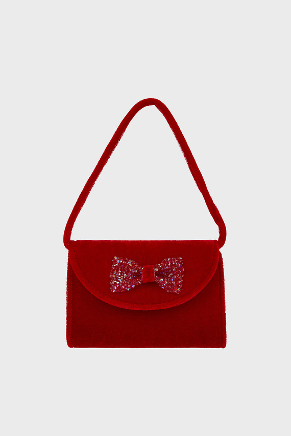 Детская красная бархатная сумка Maia Velvet Mini